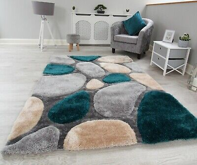 New Teal Jade Green Grey Silver Beige Thick Pile Pebbles Design Soft Shaggy Rug • 49.95£