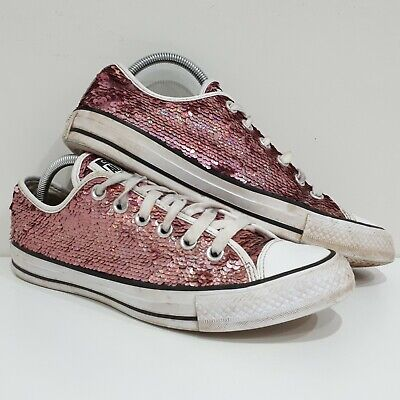 Converse Pink Sequin Trainers. Size 6. Low Top Shoes. Chuck Taylor All Stars. • 14.99£