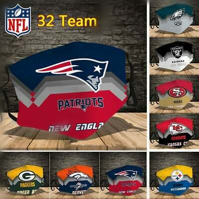 Unisex NFL Face Mask - Adjustable - Reusable - Washable -  With PM 2.5 Filter  • 5.99£