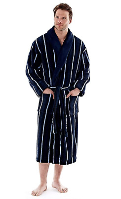 Mens Gents Full Length Velour Fleece Robe Dressing Gown Warm And Cosy Robe • 18.86£