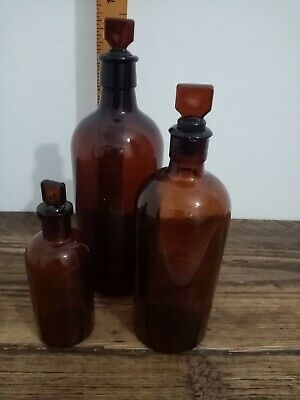 Vintage Antique Apothecary Chemistry Bottles Set Of 3 Brown Glass Joblot  • 30£