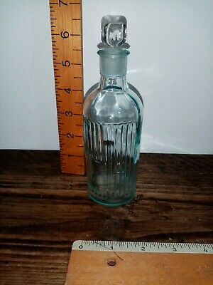 Vintage Antique Apothecary Chemistry Old Glass Bottle With Stopper  • 10£