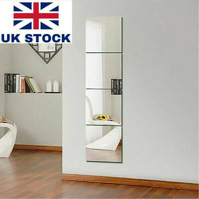 30x30cm Glass Mirror Tiles Wall Sticker Square Self Adhesive Stick On DIY Decor • 5.39£