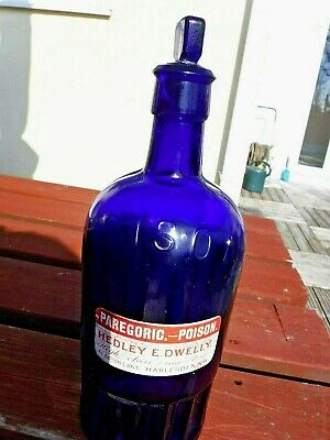 Antique Blue Glass Chemist Poison Bottle With Original Stopper: Harlesden • 16£