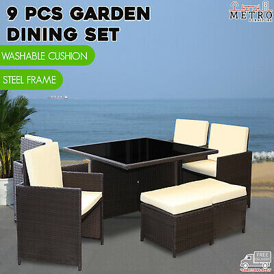 AU599 • Buy 9 Pcs Dining Set Patio Garden Table Chairs Kampen Outdoor Furniture Brown