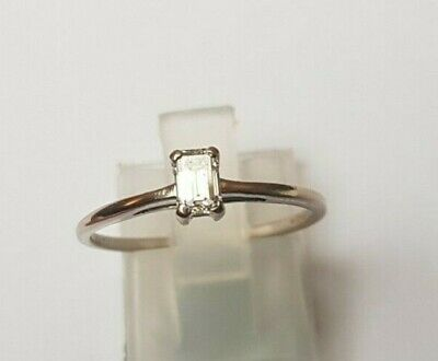 18ct White Gold 0.27 Carat Emerald Cut Diamond Solitaire Ring M1/2-N • 183£