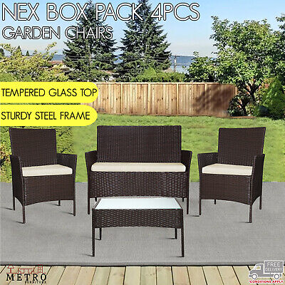 AU249 • Buy 4 Pcs Garden Chairs 2+1+1 With Garden Table Karly Outdoor Furniture Brown