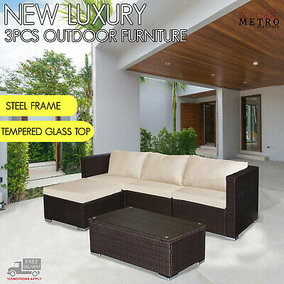 AU499 • Buy 3 Pcs Lounge Outdoor Furniture William Sofa Set Patio,Garden,Outdoor Brown