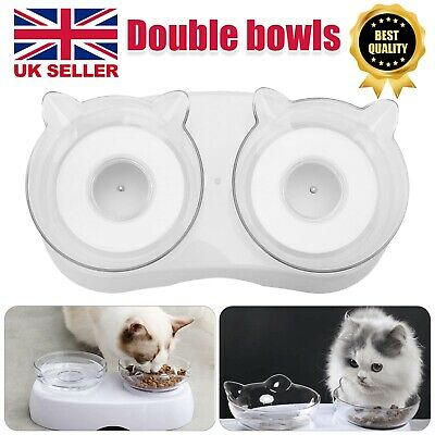 £6.29 • Buy Non-slip Double Pet Bowls With Raised Stand Dog Cat Food Water Feeding Station