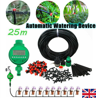 82FT Automatic Drip Irrigation System Kit Plant Timer Self Garden Watering Hose • 13.98£