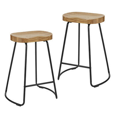 AU142 • Buy DukeLiving 2x Tractor Bar Stools Vintage Industrial Retro Chairs Wooden Natural