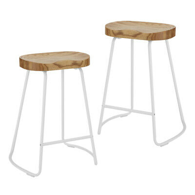 AU131 • Buy DukeLiving 2x Tractor Bar Stools Vintage Industrial Retro Chairs Wooden White