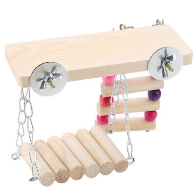 3pcs 3 In1 Wooden Small Animals Ladder & Seesaw & Platform For Hamster Parakeet • 6.97£