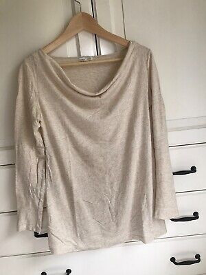 Gap Maternity Top Size Small / 8 Cream/Gold With Draped Neckline EC • 4.50£
