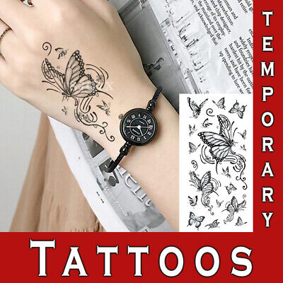 £2.99 • Buy Temporary Tattoo Realistic Look Miss You Butterfly Roses Body Art Sexy Sticker