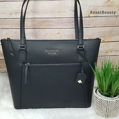 $ CDN183.14 • Buy NWT Kate Spade Cameron Pocket Leather Tote Shoulder Bag In Black Leather Zipper