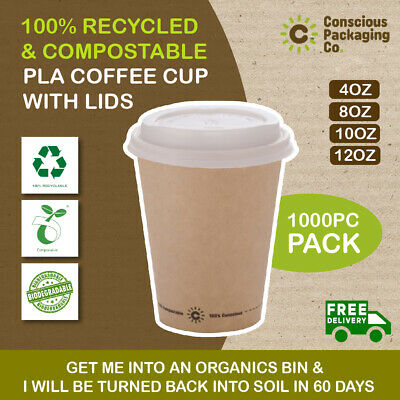 AU95.95 • Buy Eco-Friendly Disposable Compostable Biodegradable  Bulk Takeaway Coffee Cup Set