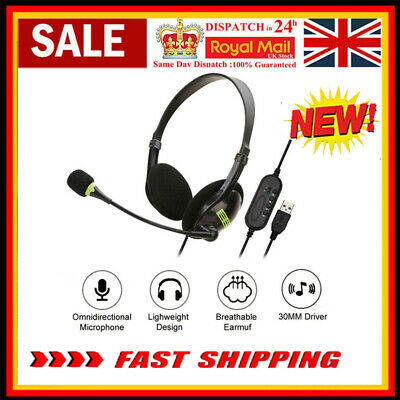 USB Headphones With Microphone Noise Cancelling Headset For Skype Laptop NEW • 8.68£