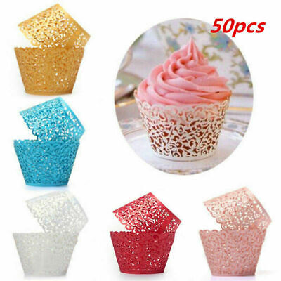 £5.79 • Buy 50X Filigree Vine Lace Cupcake Wrappers Muffin Cases Xmas Wedding Birthday Cake