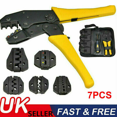 Insulated Cable Connector Terminal Ratchet Crimping Wire Crimper Plier Tool Kit • 15.98£