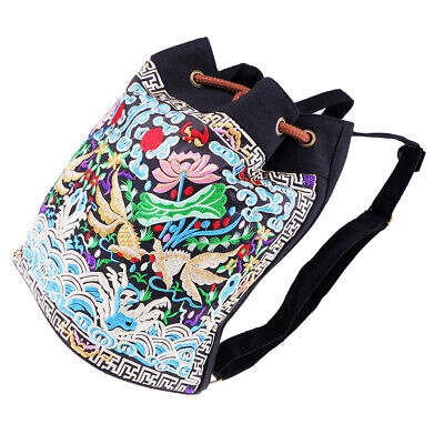 Embroidered Backpack Drawstring Canvas Embroidery Hand Bag Gold   Pattern • 13.01£