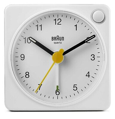 AU73.95 • Buy White Classic Analogue Travel Alarm Clock By BRAUN *new Model With Light