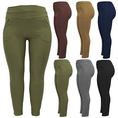 £9.99 • Buy New Ladies Womens High Rise Plus Size Skinny Fit Stretch Trousers Jeggings