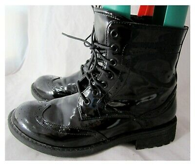 Red Herring Black Patent Faux Leather Lace Up/zip Up Brogue Ankle Boots Size 5uk • 15.99£