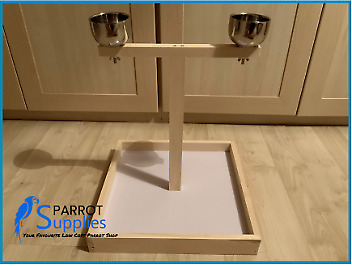 Simple Wooden Parrot Bird Table Top Play Stand. • 9.99£