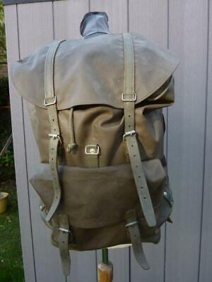 1980 Swiss Army Military Alpine Leather & Rubberized Canvas Rucksack Backpack • 79.99£