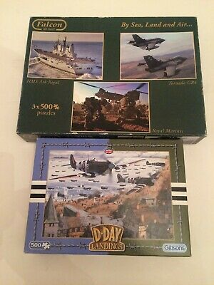 Bargain Lot Jigsaw Puzzles D-Day And By Land Sea And Air 1X500 3X 500 • 2.60£