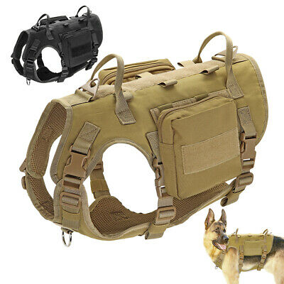 AU42.99 • Buy No Pull Tactical K9 Training Dog Harness W/ 2 Pouches Military Molle Vest Large