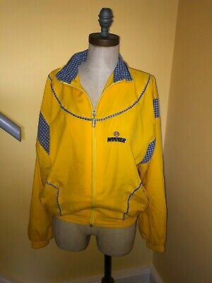 VINTAGE BRIGHT YELLOW STRIPED SHELL SUIT STYLE BOMBER JACKET APPROX UK 6 8 (h) • 8£