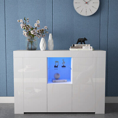 White TV Unit + Drawer 3 Door High Gloss Sideboard Cabinet Glass Shelf Matt LED • 79£