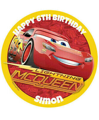 Lightning Mcqueen  Personalised 8  Round Edible Printed Cake Topper • 3.99£