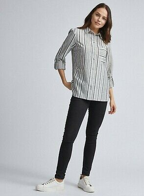 Dorothy Perkins Womens Multi Coloured Striped Linen Look Button Up Shirt • 19.99£