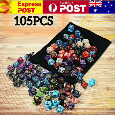 AU29.99 • Buy 105x Polyhedral Dice Sets Role For DND RPG MTG Game Dragons D4-D20 Playing