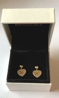Honeycomb Lace Drop Earrings In Pandora Gift Box Genuine Plated S925 • 19.99£