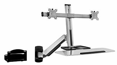 £166.63 • Buy Mount-It Sit Stand Dual Monitor Wall Mount Workstation & Stand Up Computer St...
