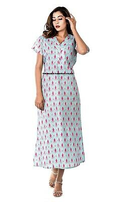 Indian Woman Ladies Long Nightie Dress Cotton Printed Casual Sleepwear Gown Maxi • 13.99£
