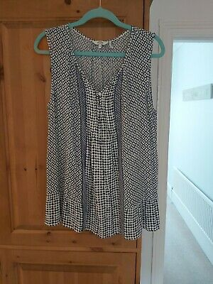Fat Face Blue Longline Top Womens Size 14 • 3£