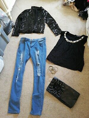 Womens Bundle Sequin Blazer Embellished Top Ripped Jeans Clutch Size 10 BARGAIN! • 1.50£