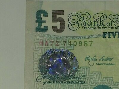 BANK OF ENGLAND PAPER £5 / FIVE POUND NOTE Collectors Item • 3.85£