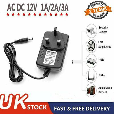 12V 1A 2A 3A AC/DC Power Supply Adapter Safety Charger For LED Strip CCTV Camera • 6.79£