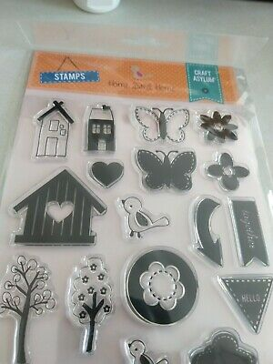 ***Craft Asylum Clear Stamp Set***17 Pieces***Home Sweet Home***Brand New*** • 2.25£