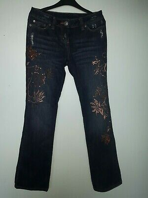 Next Size UK 8 XS Jeans Embroidered And Sequins In Copper Bronze Worn Twice RARE • 6.99£