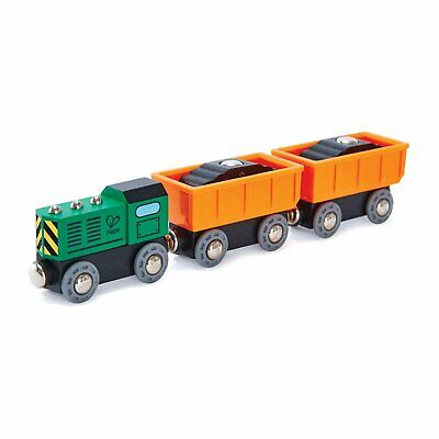 Hape Diesel Freight Train, Wooden Engine And Trucks For Wooden Train Sets • 12.99£