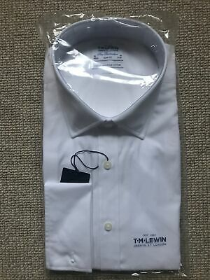 """£22 • Buy T.M. Lewin Shirt White 18""""- 38"""" Slim Fit Double Cuff Finest Two Fold"""