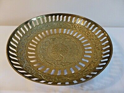 Vintage Indian Brass Miniature Dish/Tray/Plate Hand Engraved With Floral Design  • 4.50£