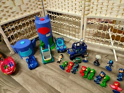 PJ Masks Vehicles, Changing Room And Figures Bundle Light Up Characters • 8£